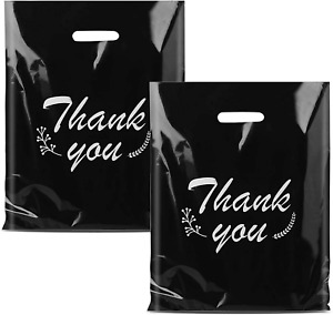 Plastic Thank You Bags For Business Reusable Black Shopping Bags For Boutique