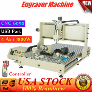 6090 4 Axis Usb Cnc Router 3d Engraver Metal Milling Engraving Machine And R c