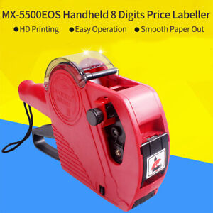 Mx5500 Eos 8 Digits Price Tag Gun Labeler Labeller With Label Ink Roller N6n1