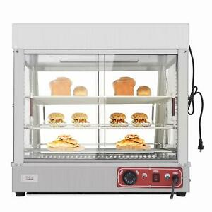 27 Commercial Food Warmer Court Heat Pizza Display Cabinet 3 Tier Glass Silver