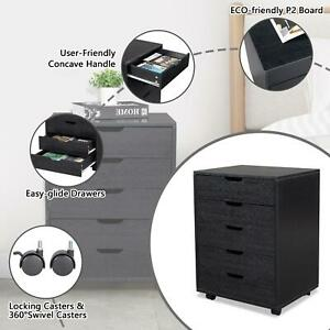 5 Drawer Chest Dresser Clothes Storage Bedroom Furniture Cabinet With Caster