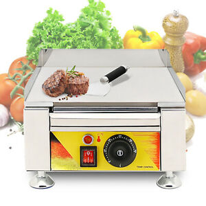Bbq Flat Electric Fried Griddle Commercial Cooking Grill Iron Furnace 110v 2000w