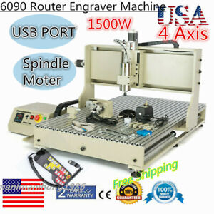 4 Axis Cnc Router Usb Engraver 6090 24000 Rpm Milling Drilling Machine Us