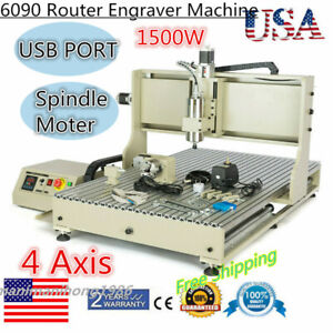Usb 4 Axis1 5kw Router 6090 Cnc Engraver Vfd Woodworking Milling Carving Machine