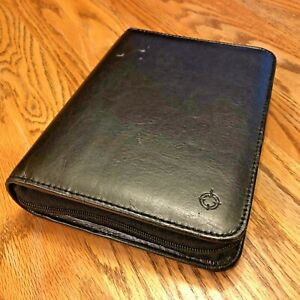 Franklin Covey Compact Zipper 1 Black Simulated Leather Same Day Shipping