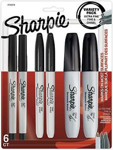 Sharpie Permanent Markers fine ultra Fine Chisel Point Markers Black 6 Count