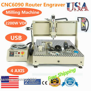 4 Axis Router Engraver Usb Cnc 6090 2 2kw Engraving Drilling Milling Machine 3d