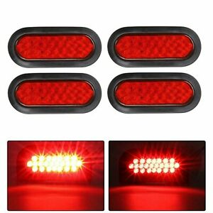 4pcs 6 Oval 24led Stop Tail Turn Truck Tractor Brake Light Red W Grommet Mount
