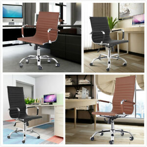 New Office Executive Chair Ribbed High Back Low Back Office Chair Pu Leather