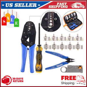 Cable Crimper Coaxial Crimping Tool Kit Ratcheting Wire Stripper W Connectors