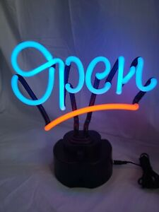 Large Flashing Led Neon Open Sign Light For Businesses Or Decoration Blue Red