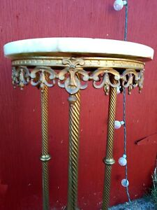 Antique Victorian 2 Tier Gold Gilt Iron Brass Marble Plant Stand Table