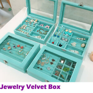 Jewelry Box 24 Section Necklace Ring Earring Organizer Case Velvet Teal Blue Us