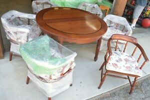 Mid Cen Mod George Zee Rosewood Round Dining Room Table Set W 2 Leaves 6 Chairs