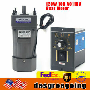 Ac 110v Gear Motor Electric Variable Speed Controller Torque 1 10 135rpm Usa