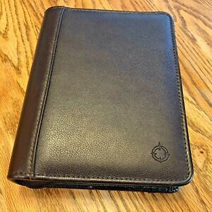 Franklin Covey Compact Zipper 1 Ring Binder Top Grain Leather Burgundy