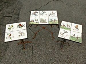 Vintage Wrought Iron Song Game Bird Tile Top Table Artist Signed 3pc Set