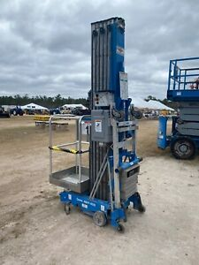2012 Genie Awp40 Man Lift 40 Deck 36 Work Hgt 12v Push Around Style Outriggers