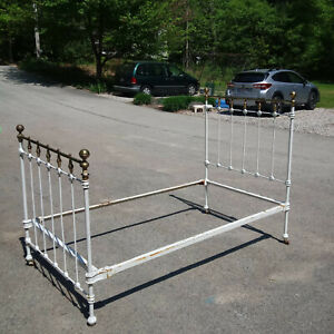 Antique Brass And Cast Iron Bed Vintage 1880