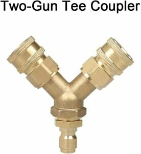 Pressure Washer Tee Splitter Coupler Quick Connect Two Gun To One Power Washer