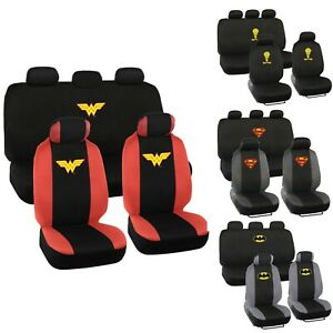 Dc Superhero Licensed Car Seat Cover Character Designs Universal Fit 9pc Set