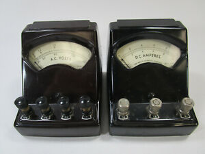 Pair Of Vintage Welch Scientific Co Dc Amperes Ac Volts Meter Dial Guage
