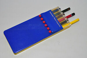 Vintage Automatic Pencil Dispenser blue Yellow Made In Hong Kong