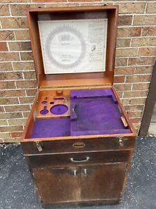 Vintage Moore Precision Tools Cabinet Rotary Table Wood Cabinet