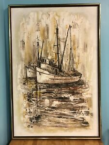 Vintage Original Oil Painting by Milton Keith Lee two Boats Ships Abstract MCM $195.00