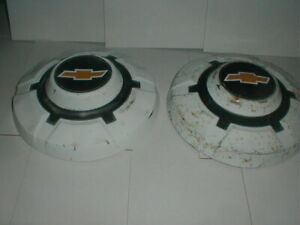 Chevy Dog Dish Hubcaps 12 White Poverty Wheel Covers Pair 1969 72 Truck Pickup