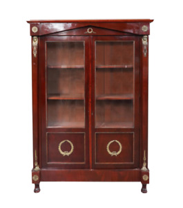 19th Century French Empire Style Bronze Mounted Bibliotheque Cabinet