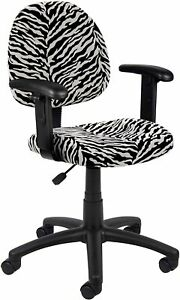 Boss Office Products Perfect Posture Delux Microfiber Task Chair Arms Zebra