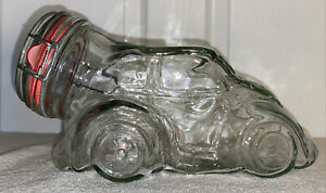 Vintage Volkswagen Beetle Bug Clear Glass Canister Jar Apothecary Wire Flip Lid