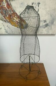 Vintage Antique Wire Metal Doll Dress Form 28 Tall Display Use For Jewelry