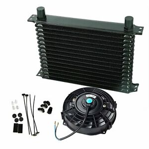 Universal 15 Row 10an Engine Transmission Oil Cooler 7 Electric Fan Kit Black