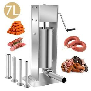 7l Vertical Commercial Home Sausage Stuffer 2 Speed Stainless Meat Press