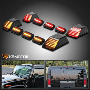 10pc For 2003 2009 Hummer H2 H2 Sut Smoke Led Cab Roof Top Lights Marker Lamps