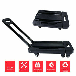 Folding Aluminium Cart Hand Truck Dolly Push Collapsible Trolley Luggage 440lb