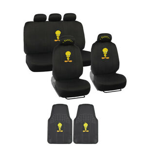 11pc Set Tweety Bird Car Seat Covers With Front Pair All Weather Car Floor Mats