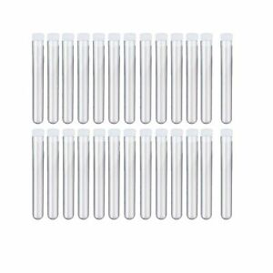 Muhome 12x100mm 8ml Clear Plastic Test Tubes With Caps For Scientific Experim