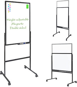 Height Adjust Double Sided Magnetic Dry Erase White Board On Rolling 36x24 Inch
