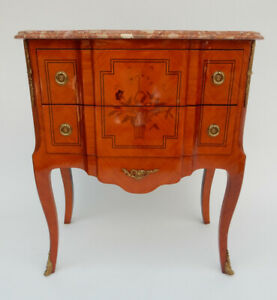 French Inlaid Marble Top Chest