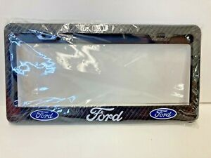 2 Ford Carbon Fiber Look License Plate Frame Metal Great For F150 Or Mustang