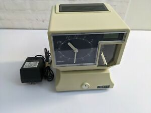 Amano Tcx 11 Electronic Time Card Clock Analog Digital Lcd Tested Payroll Punch