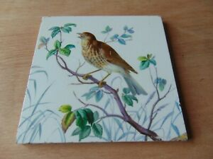 19th Century Architectural Antique Maw Tile 6 Inch Hand Painted Bird