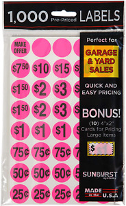 Priced Garage Sale Stickers 1 000 Count Pre printed Labels Pink