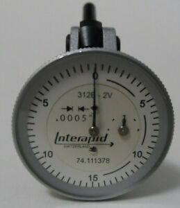Interapid Vertical Dial Test Indicator Model 312b 2v 0005 0 To 0 06 White