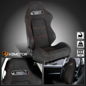 Passenger Side Black Suede Red Stitch Reclinable Sport Racing Seat W Slider