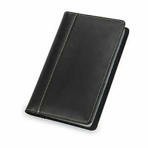 Open Box Samsill Business Card Holder Black Contrast Stitch Leather Holds 240