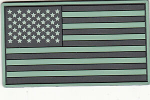TACTICAL OD GREEN BLACK US FLAG PVC SOFT RUBBER PATCH $5.00